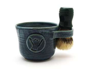 Shaving Mug with Shaka in Blue, Hang Loose Hawaii Aloha Spirit Ready to Ship Father's Day Surfer Gift Brush Not Included