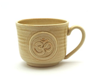 Om Coffee Mug in Cream, Ohm Zen Yoga Pottery Cup, Namaste Mothers Day Gift