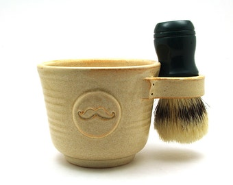 Mustache Shaving Mug in Cream Brush Is Not Included
