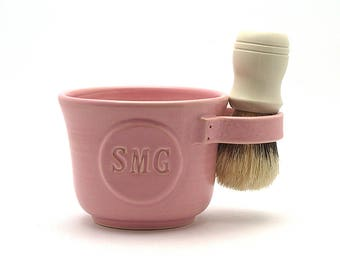Shaving Mug for Women Pink Shave Bowl Personalized with Initials Brush NOT Included Made to Order in 4 to 6 weeks