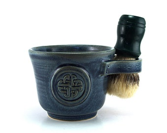 Blue Celtic Knot Shave Mug, Husband Wet Shaving Gift for Irish, Celts, Scotts Brush Not Included Ready to Ship Gift for Dad