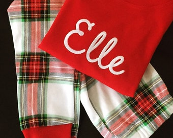 organic plaid christmas pajamas preorder pajama sets top pants holiday monogram baby toddler kids monogrammed pjs cotton unisex siblings