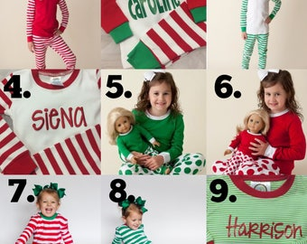 2b53b945a2 Family Christmas pajamas PREORDER embroidered sets micro stripe red   white  stripes baby toddler kids monogrammed PJs cotton Monogram Xmas p
