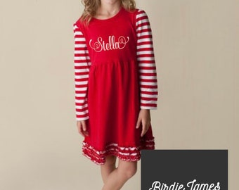 3d822b2884 Monogrammed Christmas Dress for kids - Red and White stripe or polka dot  with embroidery - Does Double Duty at Valentine s Day Embroidered