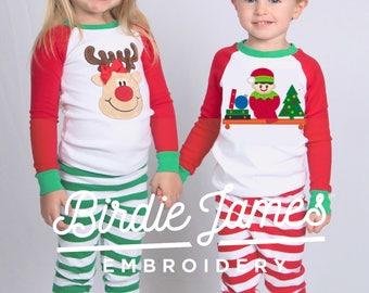 082712173b Elf Christmas pajamas Train Reindeer or Elf Baseball top pants sets - kids  Christmas pajamas Adults naughty nice appliqué monogramed PJs