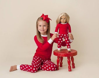 02513616c3 Red Polka dot Christmas pajamas top   pants set gown PREORDER Add name  monogram or appliqué red white stripes or dots embroidery vinyl blank