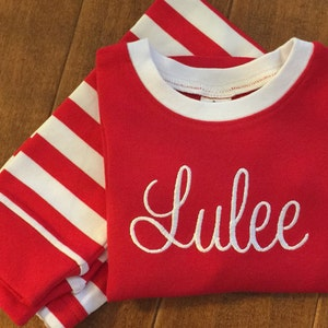 Personalized Christmas pajamas top   pants sets NAME ONLY red white stripes  baby toddler snug fit PJs kids Valentine pajama 2f4aed6cf