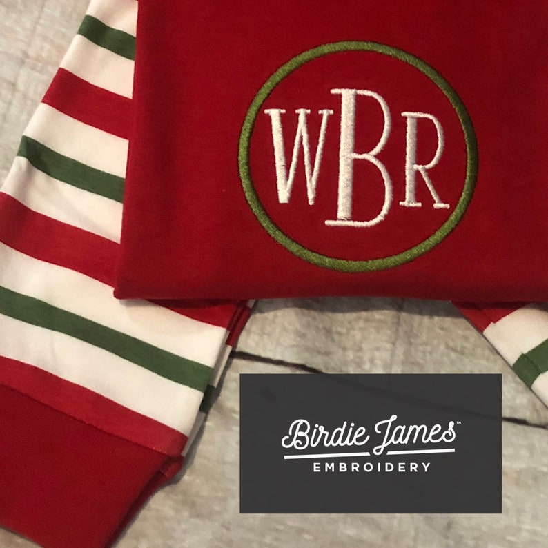 Organic Cotton stripe timeless PJ Classic Monogrammed Christmas Pajamas Traditional Embroidered green circle monogram with white letters