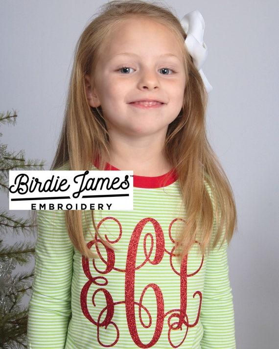 24438a5c72 Matching Family Christmas pajamas embroidered sets micro stripe red   white  stripes kids monogrammed PJs cotton Monogram Xmas pyjama jammies