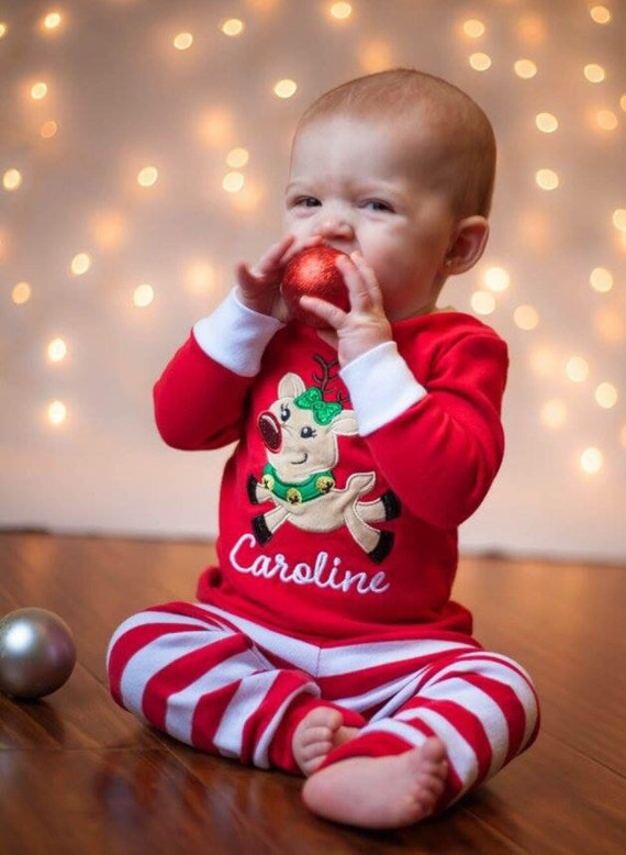 Family Christmas Pajamas With Baby.Family Christmas Pajamas With Stitched Applique Reindeer Or Santa Green Red White Stripes Baby Toddler Kids Monogrammed Pjs Gymmies