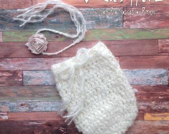 Newborn Swaddle Sack, FREE Headband, Snuggle Sack, Ivory, Cream, Champagne Shabby Chic Flower, Girl, Boy, Photo Prop, Ready to Ship