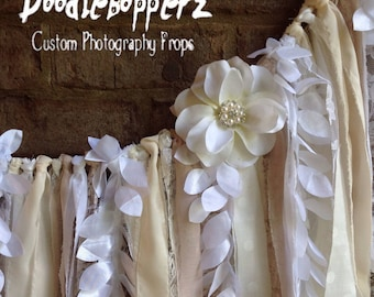 Shabby Banner, Fabric Garland, Wall Banner, Champagne, Neutral, Taupe, White, Natural,Cream,Shabby Chic,Satin,Wedding, Lace, Photo Prop, RTS