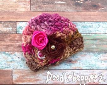 Unique Merino Wool Hat, Newborn Girl, Pink, Brown, Pink Satin Rose, Rhinestone, Shabby Chic, Photo Prop, Newborn, Ready to Ship