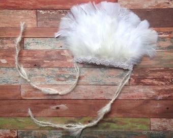 Newborn Indian Headdress, girls, feathers, headband, white, ivory, pearl beading, newborn photo prop, ready to ship