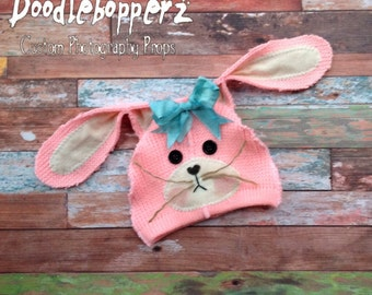 SALE - Bunny Hat, Easter, Upcycled, Rabbit Hat, Natural, Pink, Upcycled Bunny Hat, Detachable Bow, Unique Photo Prop, Newborn Photo Prop
