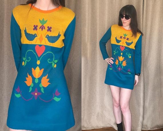 70s Mini Dress, Vintage Charlie's Girls Color Bloc