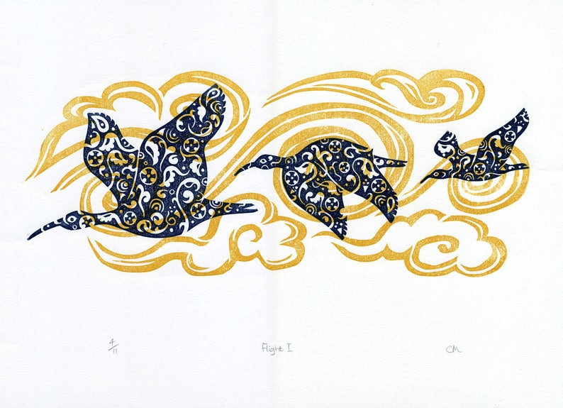 Flight 1 linocut, decorative birds flying, Ibis migrating, clouds, patterns  inspired Middle Eastern ancient ceramics