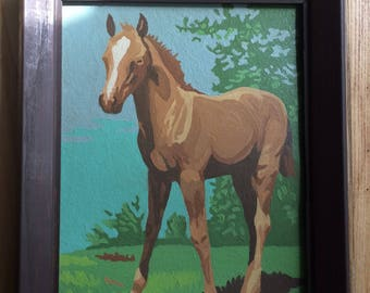 Vintage Framed Paint by Number - Horse Portrait