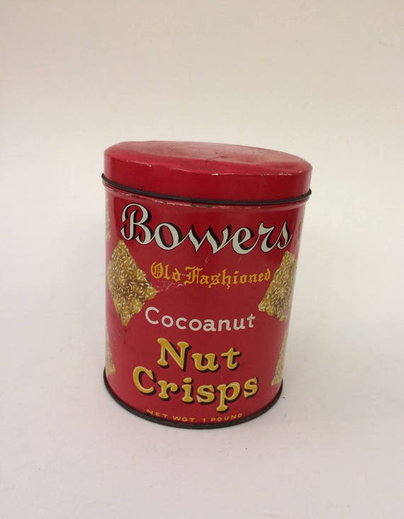 Bowers Nut Crisps Tin - Red Tin - Decorative Tin