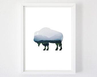 Where the Buffalo Roam - Art Print, Buffalo Print, Buffalo Silhouette