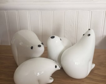 Solid Glass Polar Bear Family