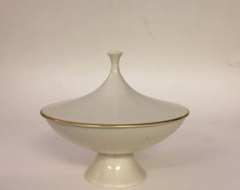 Midcentury Lenox Compote Dish, 24k Gold