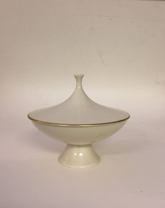 Midcentury Lenox Compote Dish, 24k Gold