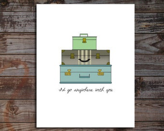 Vintage Suitcase Digital Download Art Print