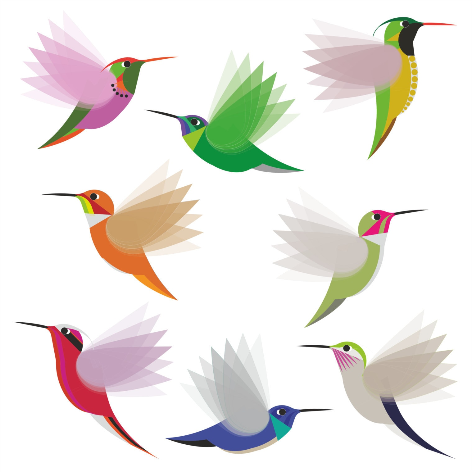 Beautiful Vibrant Colored Hummingbird Art #4 Vinyl Decal Sticker Shinobi Stickers 4 Wide