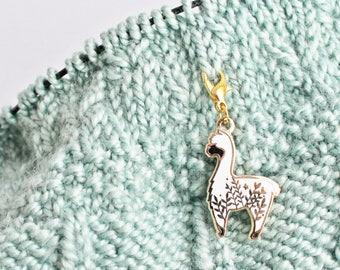 Little Alpaca Progress Keeper / Stitch Marker - Gold Plated Hard Enamel