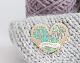 Yarnoholic - Gold Plated Hard Enamel Pin Knitters Flair