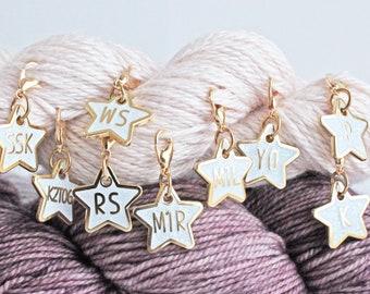 Glitter Stars Knitter's Helpers Progress Keepers/ Stitch Markers - MINI SETS -  Gold Plated Hard Enamel