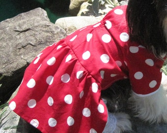 red and white polka dot dog dress halloween costume size small