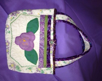 Quilted Purple Pansy Purse (New)