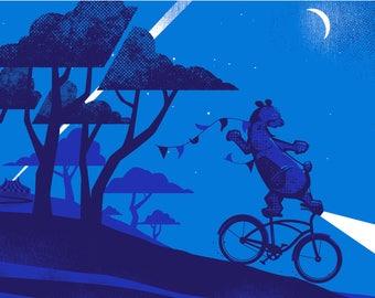 Escape - Artcrank 2016 Screen Printed Bike Poster