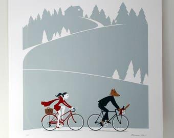 Little Red Riding Hood - Artcrank Minneapolis 2013 Screen Printed Bike Poster