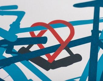 Inseparable- Artcrank Minneapolis 2017 10th Anniversary Screen Printed Bike Poster Reprint