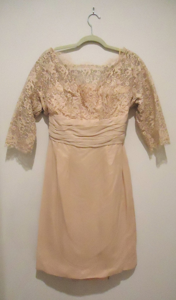 1950s Dress - Blush - Pink Lace - Chiffon - Vintag