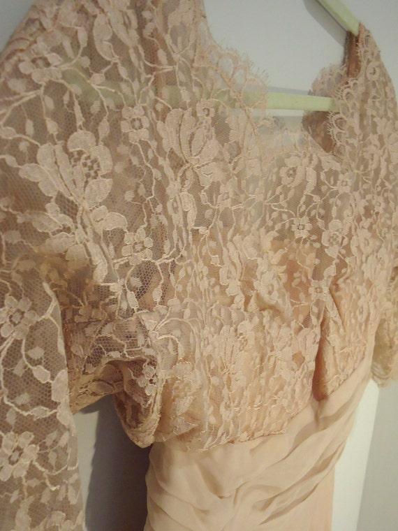 1950s Dress - Blush - Pink Lace - Chiffon - Vinta… - image 2