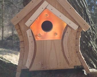 Wren House, The  Bungalow, Cedar Bird House, Wooden Wren House, Natural Finish, Outdoor Birdhouse