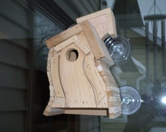 The Breezy, a window mounting wren house with a open back. Cedar Bird House, Wooden Wren House, Natural Finish, Outdoor Birdhouse
