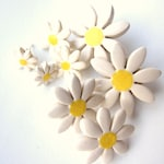 Daisy earrings, tiny ceramic daisies on hypoallergenic stud posts, for all ages