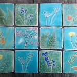 Botanical ceramic tile, Spring flowers, hand cut tile, bluebell, cherry blossom, crocosmia, fern, cow parsley MADE TO ORDER