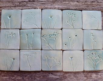 Handmade Botanical Ceramic Tiles - Blue-Grey - 15 Tile Panel