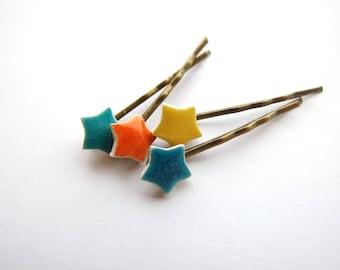 1 cute star bobby pin hair clip  yellow orange turquoise antique bronze hair clips