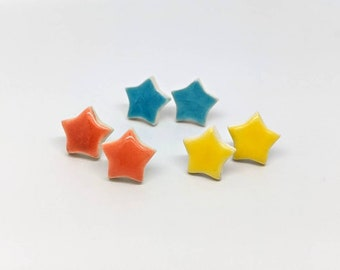 Colourful star earrings ceramic cute hypoallergenic surgical steel stud posts