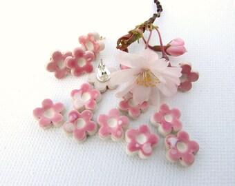 Blossom earrings pink ceramic flowers stud posts pastels Spring time Sakura