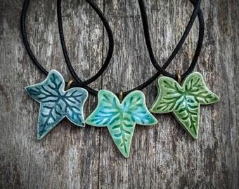 Ivy necklace,  green crackle glazed ceramic
