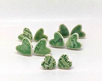 Green heart earrings little ceramic hearts stud posts