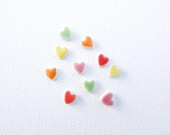 Tiny heart earrings ceramic colourful glaze hypoallergenic stud posts